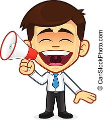 Businessman with megaphone - Clipart picture of a...