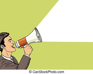 Businessman with megaphone pop art style vector