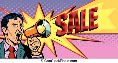 businessman with megaphone sale background