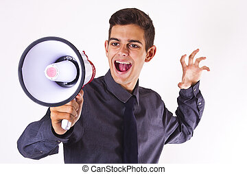 businessman with megaphone shouting