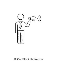 Businessman with megaphone sketch icon.