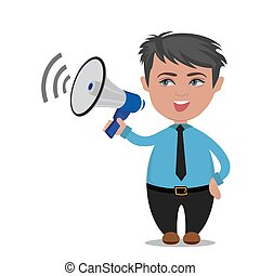 businessman with megaphone, vector illustration