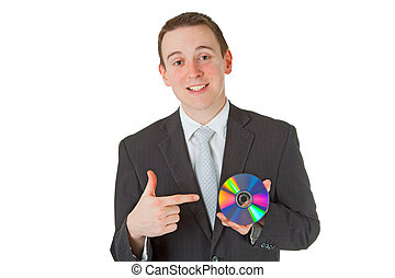 Businessman with memory disk