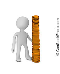 businessman with metallic coins