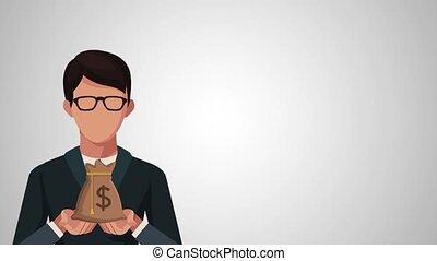 businessman with money bag avatar animation illustration...