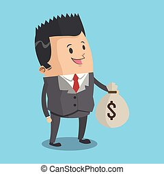Businessman with money bag cartoon