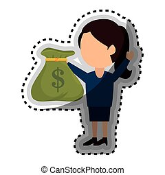 businessman with money bag isolated icon