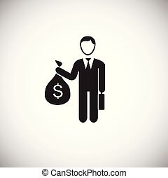 Businessman with money bag on white background