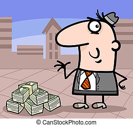 businessman with money cartoon illustration