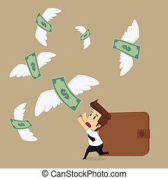 businessman with money flying away