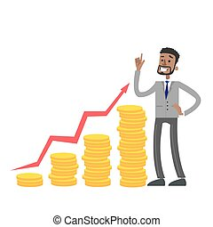 Businessman with money growth.