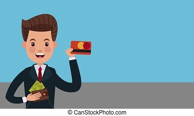 Businessman with money HD animation