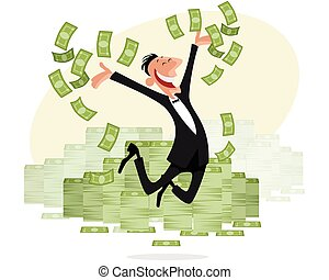Businessman with money jumping