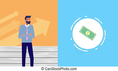 businessman with money video animation