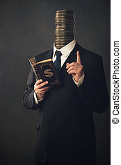 Businessman with moral pointing finger and handbook for...