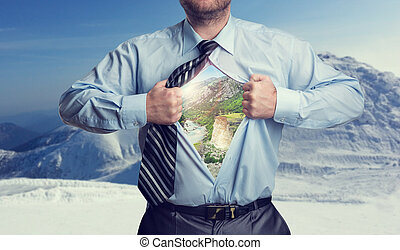 Businessman with mountains inside