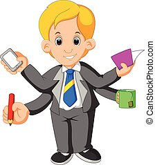 Businessman with multi tasking and multi skill -...