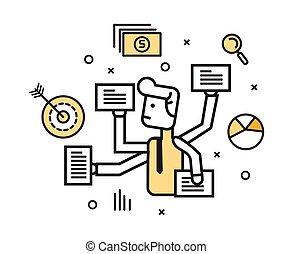 Businessman with multi tasking work. - flat line design...