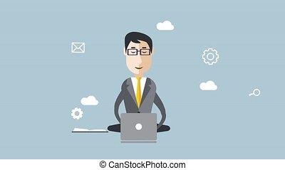 Businessman with multitasking and multi skill. Animated -...