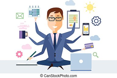 Businessman With Multitasking - Businessman with...