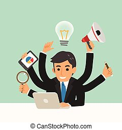 businessman with multitasking skills cartoon illustration