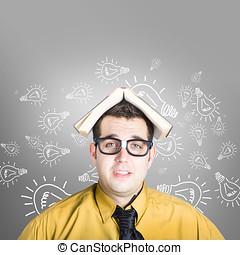 Businessman with new education idea