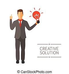 Businessman with new idea vector concept in modern flat style