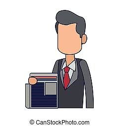 businessman with newspaper avatar blue lines