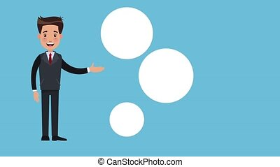 Businessman with office symbols HD animation