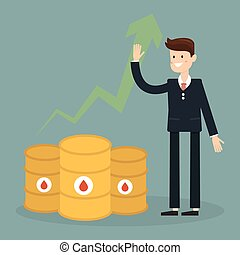 Businessman with oil trading concept. Cartoon Vector Illustration.