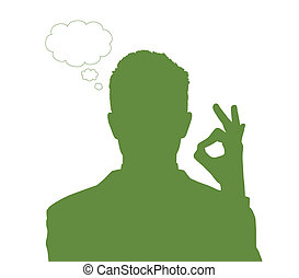 businessman with ok sign - silhouette portrait of a young...