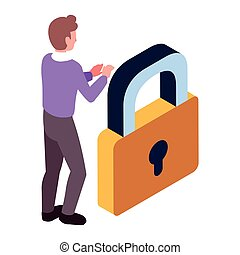 businessman with padlock on white background