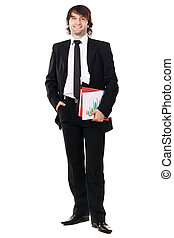 Businessman with papers and folders