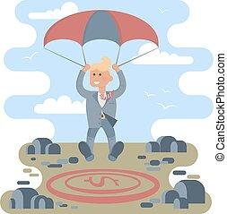 Businessman with parachute