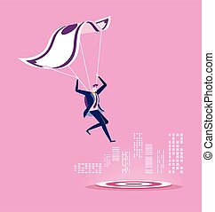 Businessman with parachute landing on the target. Business success concept.