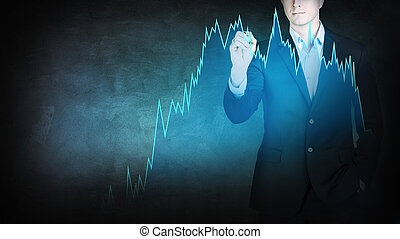 Businessman with pen stands in front of digital transparent graph.