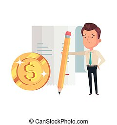 businessman with pencil and icons