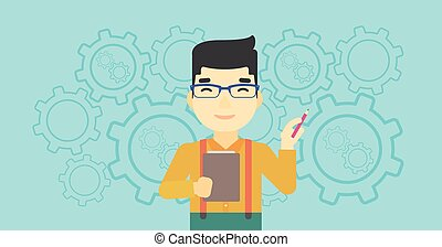 Businessman with pencil vector illustration.
