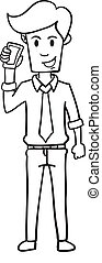 Businessman with phone character hand draw