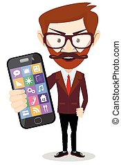 Businessman with phone in hand