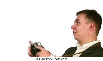 businessman with photo camera face