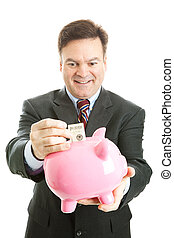 Businessman with Piggy Bank