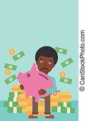 Businessman with piggy bank vector illustration.