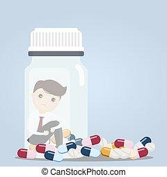 Businessman with pill bottles.