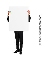 businessman with placard