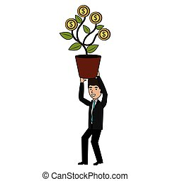 businessman with plant of coins character