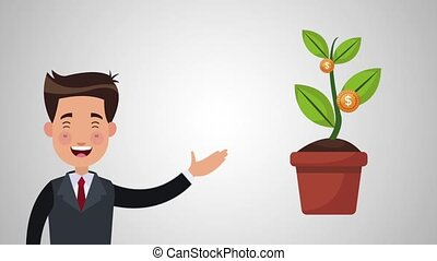 Businessman with plant of money HD animation