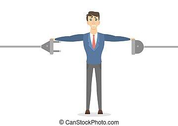 Businessman with plug.