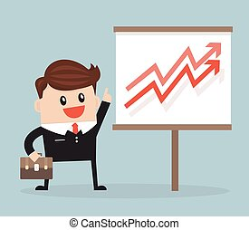 businessman with pointer stick presenting a growing chart.