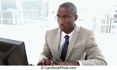 Businessman with presbyopia
